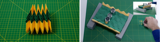 origami. simulación puente